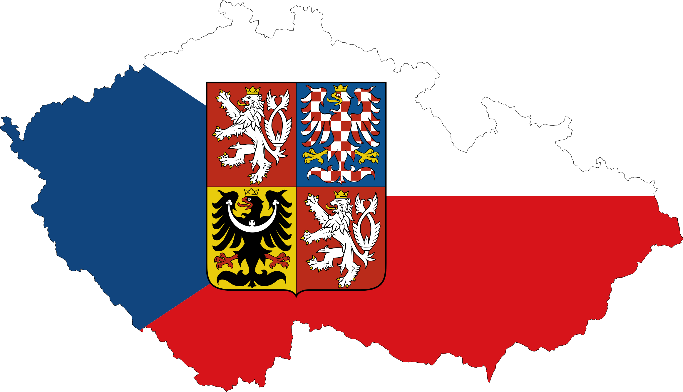 Czech-Republic-Map-Flag-With-Stroke-And-Coat-Of-Arms